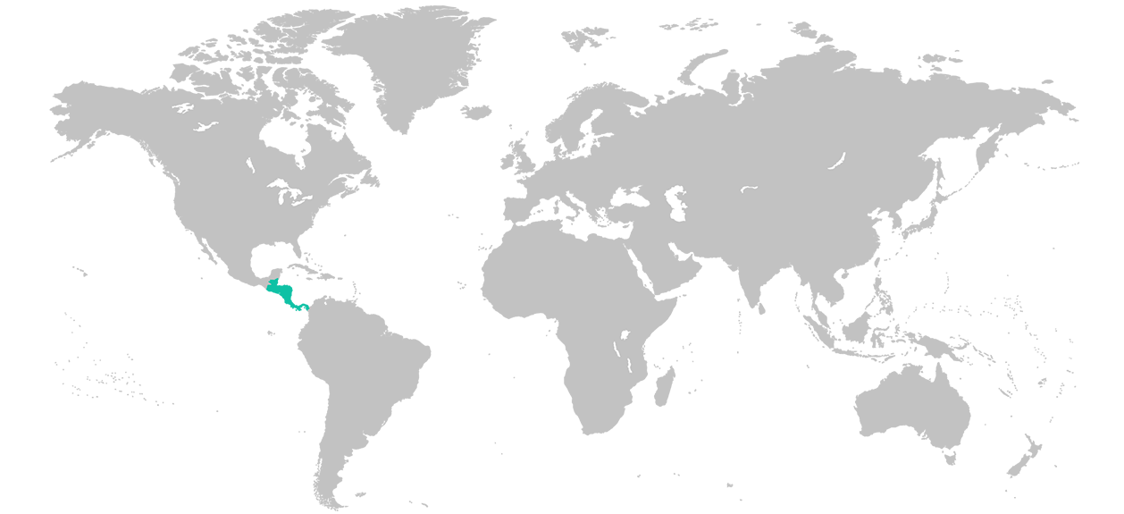 Map of the world with Central America highlighted.