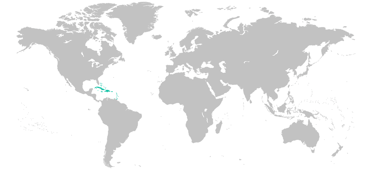 Map of e world with the Caribbean region highlighted.