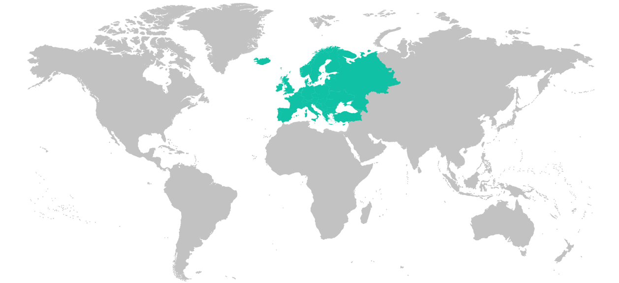 Map of the world with the general region of Europe highlighted.