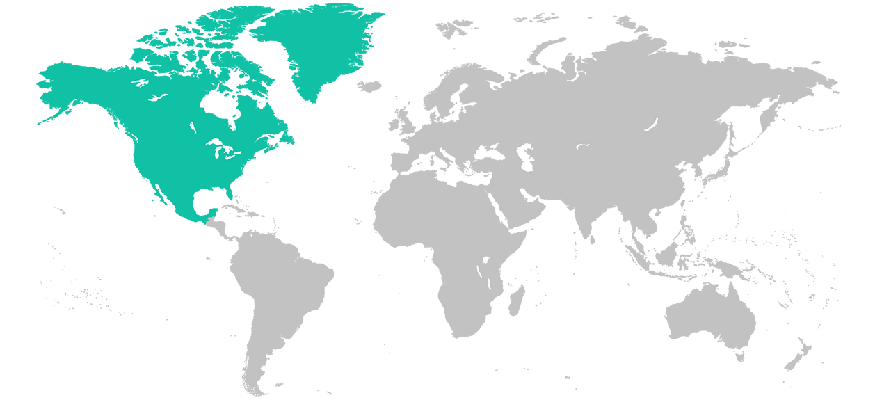 Map of the world with North America highlighted.
