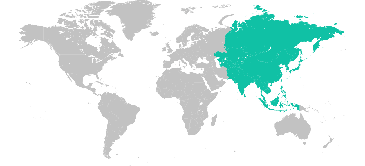 Map of the world with Asia highlighted